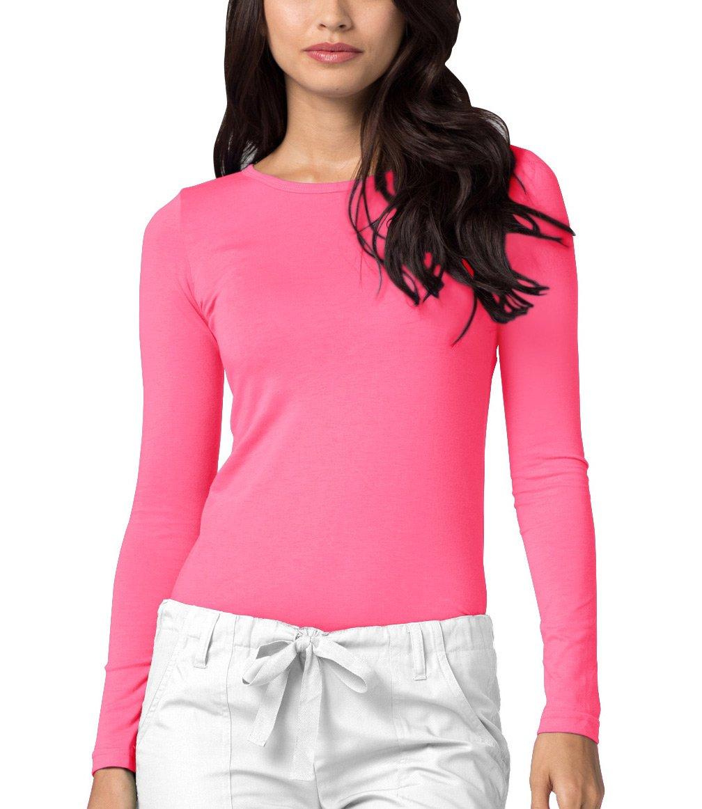 Adar Womens Comfort Long Sleeve T-Shirt Underscrub Tee - 2900 - Neon Pink - L