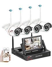 SWINWAY Kit de Vigilancia con Monitor de 7 Pulgadas 1080P Kit Cámaras de Vigilancia Inalambricas 4CH NVR WiFi 4 Cámaras de Seguridad WiFi 960P sin Disco Duro Detección de Movimiento Acceso Remoto