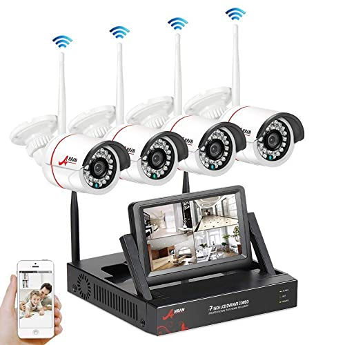 Wireless CCTV Security Systems, SWINWAY Wireless Security Camera Systems with 7 Inch Monitor Wifi NVR Kit 4 Channel 960P Indoor Outdoor Camera,Easy Remote Access,App,Plug and Play, No Hard Drive