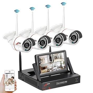 SWINWAY Kit de Vigilancia con Monitor de 7 Pulgadas 1080P Kit Cámaras de Vigilancia Inalambricas 4CH