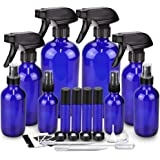 Glass Spray Bottle Kits, BonyTek Empty 4 10 ml Roller Bottles, 8 Blue Essential Oil Bottle(16oz,8oz,4oz,2oz) with Labels…