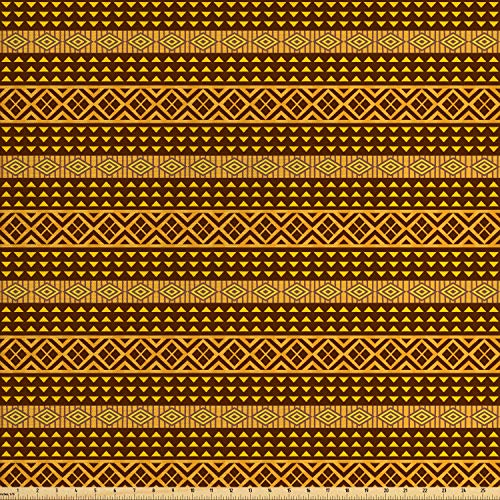 Lunarable Yellow and Brown Fabric by The Yard, Old Fashion African Geometric Ornate Artistic Triangles Print, Decorative Fabric for Upholstery and Home Accents, 1 Yard, Chestnut Brown Marigold