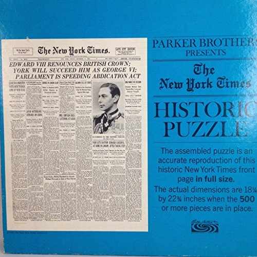 Parker Brothers Presents - The New York Times Historic 500 Piece Puzzle - December 11, 1936 - Abdication of King Edward VIII (Puzzle No 503)