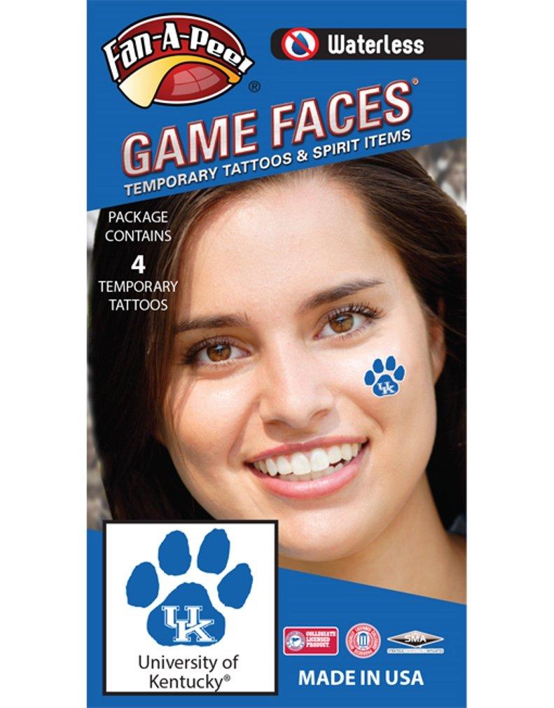 Fan A peel University of Kentucky UK Wildcats – Waterless Peel Stick Temporary Spirit Tattoos – 4 Piece – White UK Logo on Blue Paw Print