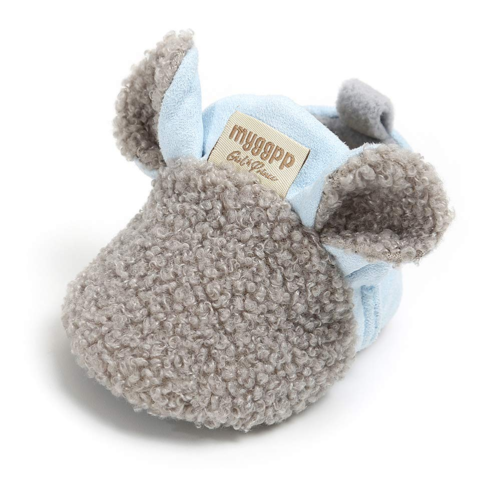 Sawimlgy Baby Boys Girls Adjustable Slippers Cartoon Moccasins Anti-Slip Soft Sole Warm Winter Crib Shoes