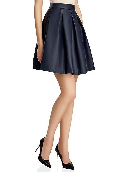 oodji Ultra Mujer Falda con Pliegues de Piel Sintética: Amazon.es ...