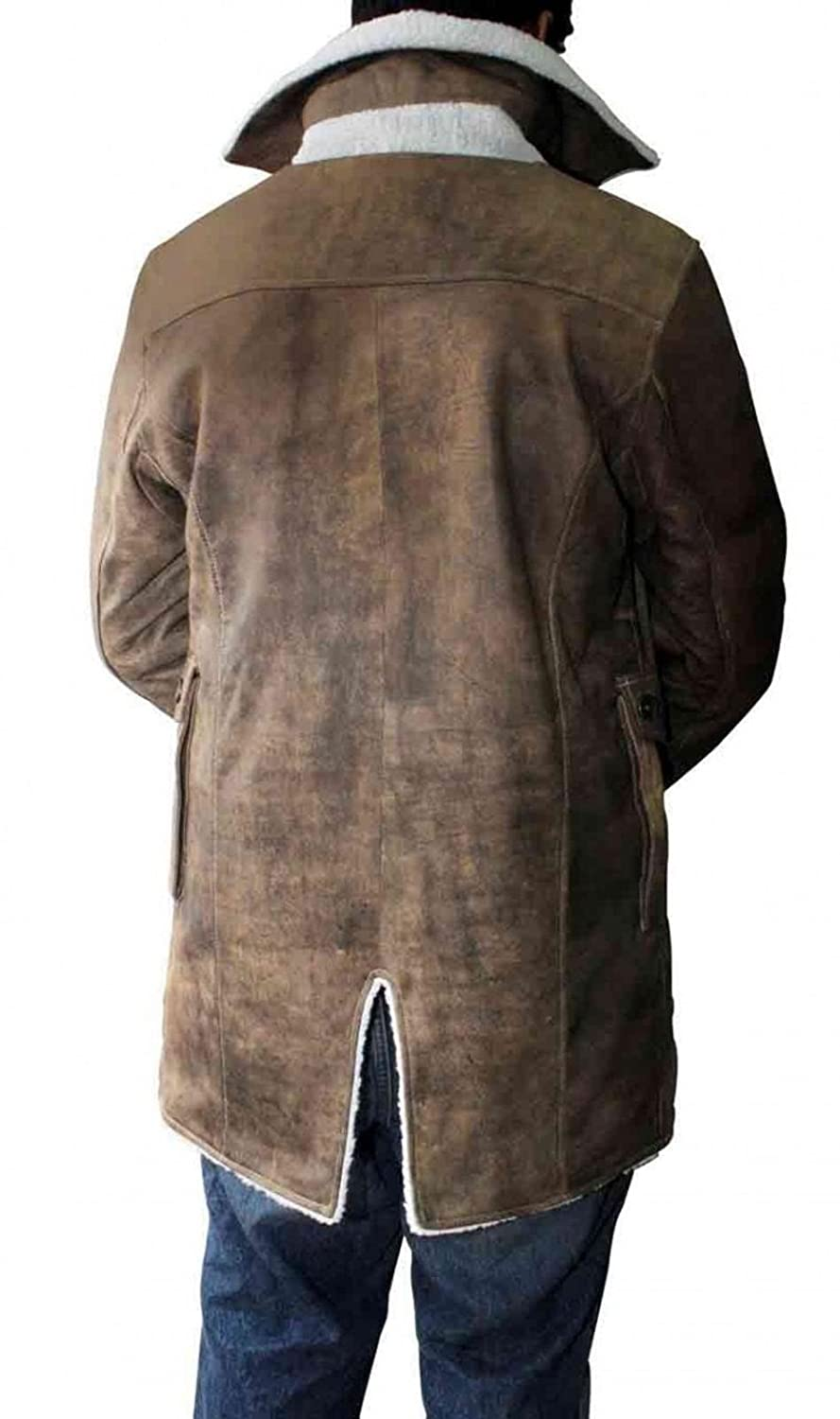 1a1c8190ddac Bestzo Men s Dark Knight Fashion Bane Coat with Faux Shearling Cowhide  Distressed Leather Brown XS-5XL at Amazon Men s Clothing store