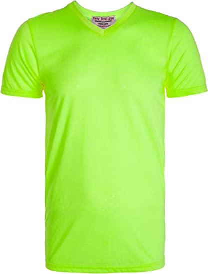 NEW ENVY para hombre diseño de luces de colores SUMMER BOUTIQUE V en la parte superior y para el cuello de colores llamativos de manga corta para BASIC t-camiseta de manga corta: