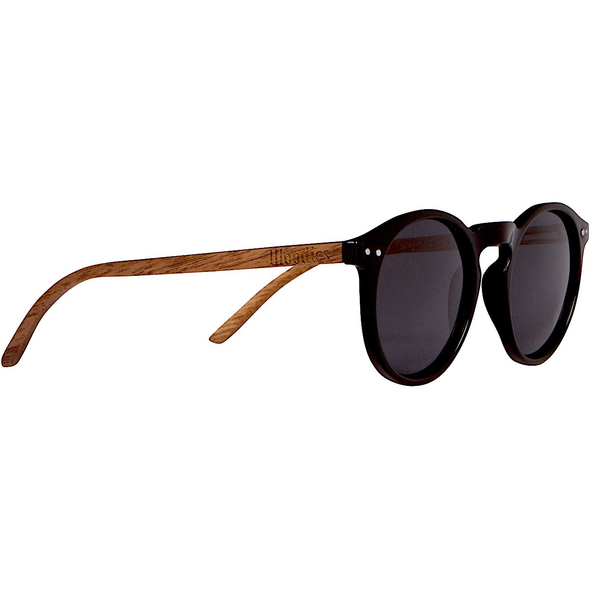 WOODIES Foster Style Walnut Wood Polarized Sunglasses with Round Lens