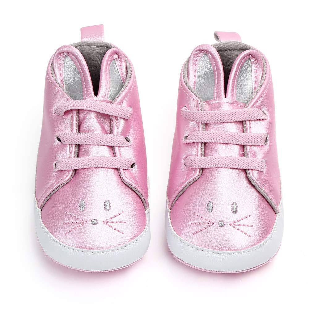 Cloudro Baby Girl Soft Sole Shoes Cute Ear First Walkers Crib Toddler Princess Shoes