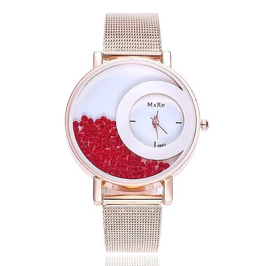Reloj De Moda Arenas Movedizas Diamante De Color Pequeño Relojes De Acero Inoxidable Reloj De Pulsera Analógico Kelry (B): Amazon.es: Relojes