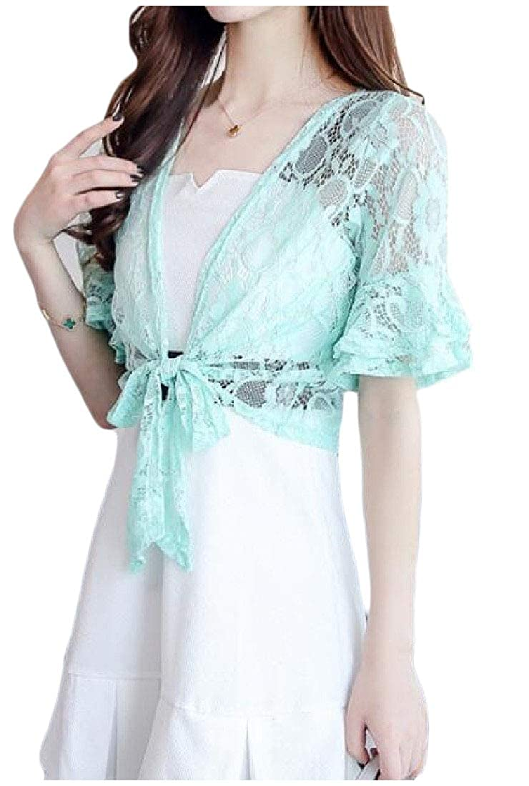 Fieer Womens Tie Front Shawl Lace Patchwork Short Sleeve Cardigan Shrug