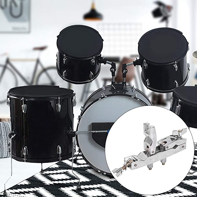 Silver Healifty Drum Connecting Clamp Holder Bracket Rod Percussion Drum Accessory Multi-function Clip WC50