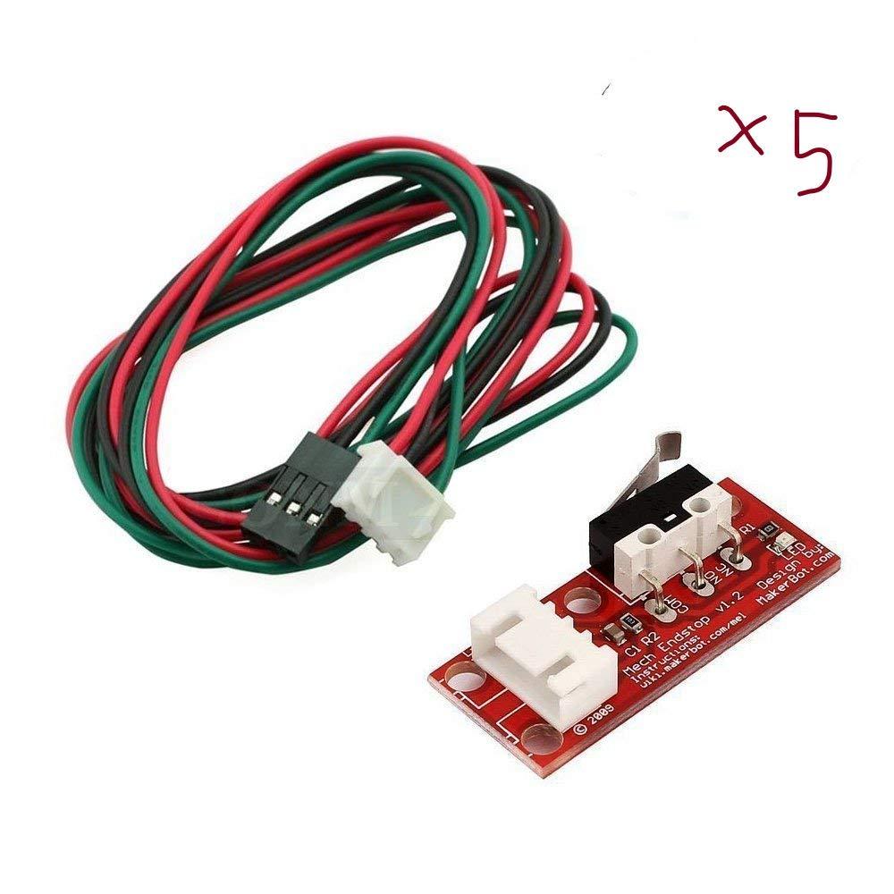 ARCELI 5Pcs de Mechanische Endstoppschalter avec Kabel pour 3D Drucker Makerbot Prusa Mendel RepRap CNC Arduino Mega 2560 1280