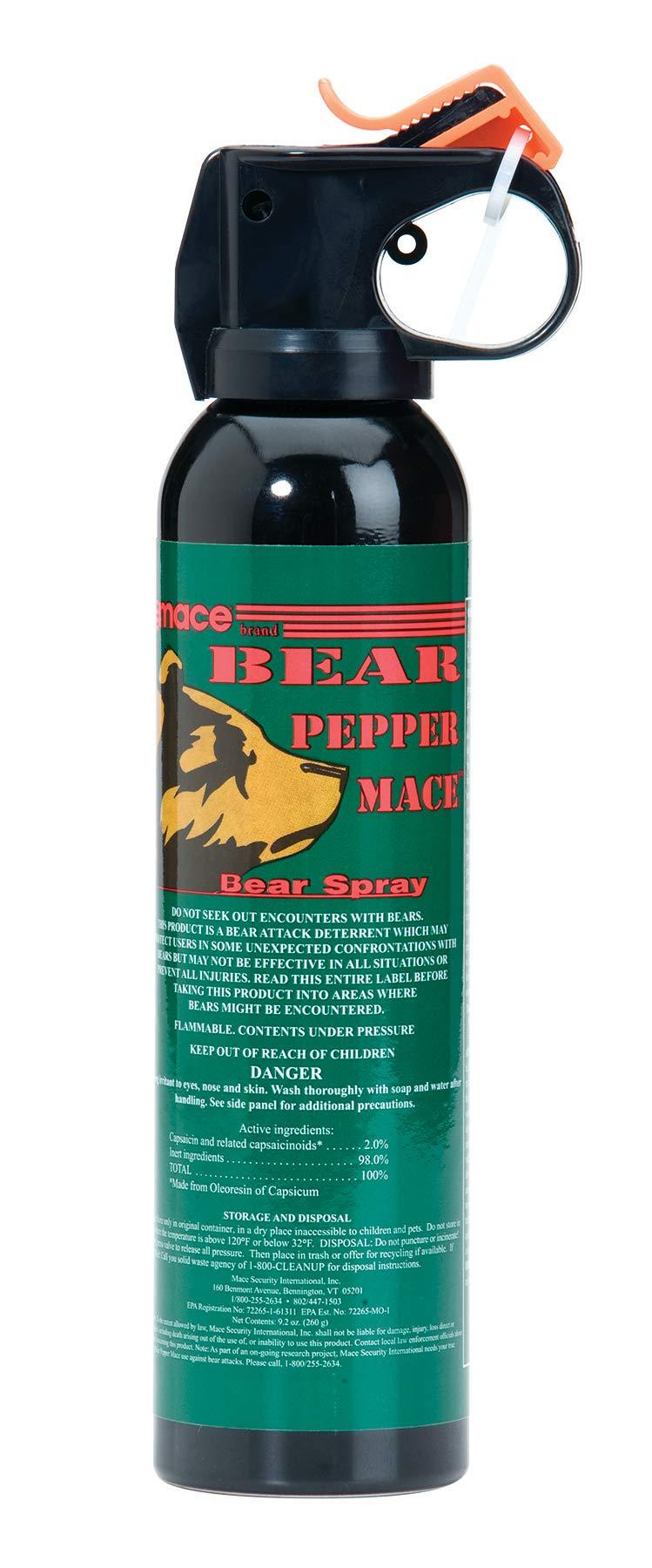 Mace Brand Maximum Strength Bear Spray, Bear Defense Pepper Mace for Camping and Hiking, 35' Spray Range,  9'' x 2'' (80346) by Mace