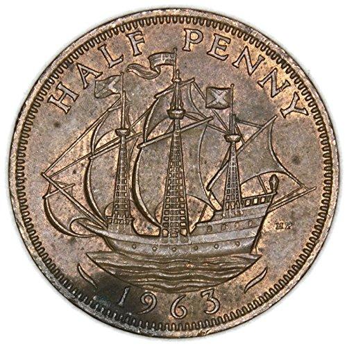 1963 UK Elizabeth II British Bronze Half Penny Very Good