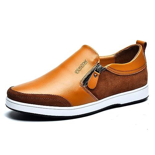 Casual plana cuero mocasines conducción resbalón en bajo-Top zapatos ligero perezoso Invisible altura aumentar