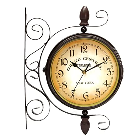 Puto Double Sided Wall Clock Wrought Iron 2 Faces Train Station Clock Antique Wall Clock Hanging Clock with Mounting Bracket, Brown 8 inches