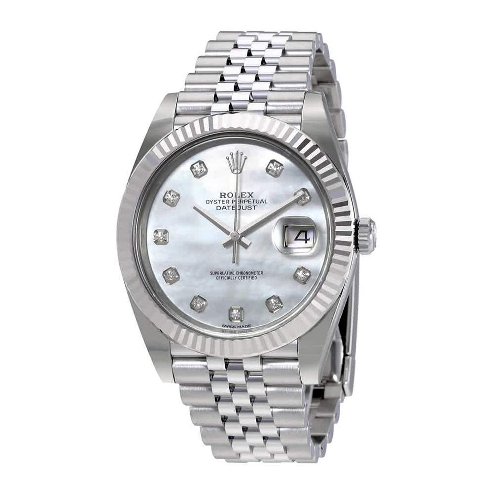 7232a25ee3df Amazon.com  Rolex Oyster Perpetual Datejust White Mother of Pearl Diamond  Dial Mens Watch 126334MDJ  Watches