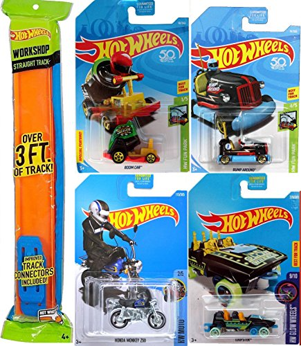 2018 Hot Wheels Fun Boom Car Stunt Carnival Canon + Roller Coaster Track Cars Loopster Cart Series Set Hands Up Glow Wheels 2017 Theme park + Pedal Driver #67 / Honda Monkey mini Bike PROTECTIVE CASES