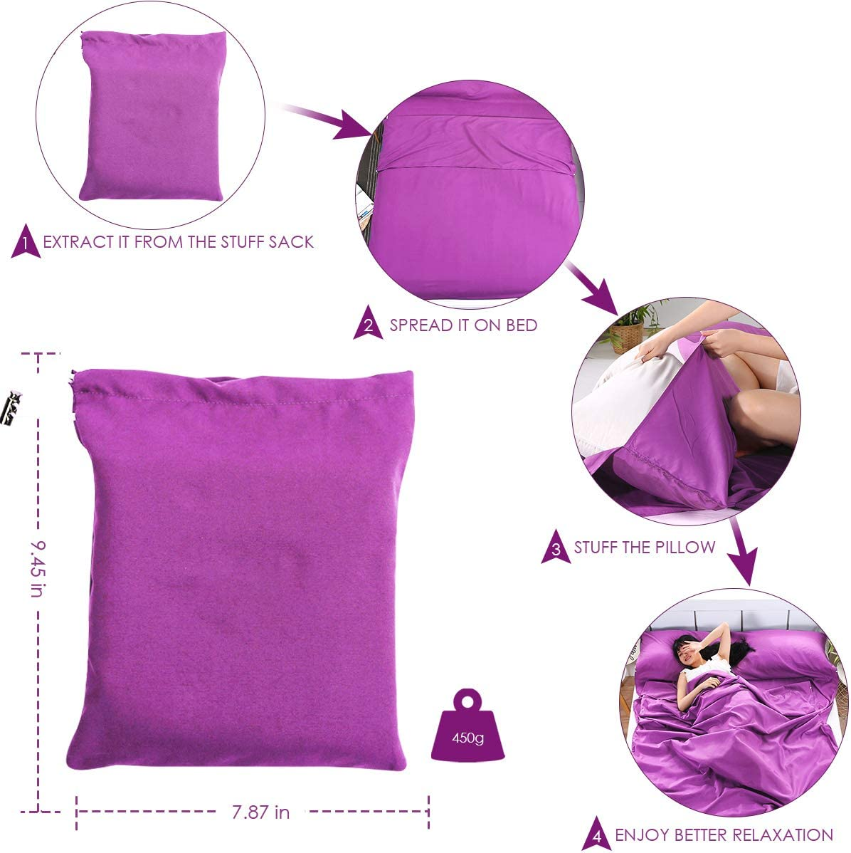 Rehomy Sleeping Bag Liner 82.7 /× 47.2in Sleep Bag Sack for Outdoor Hotel Hiking Picnic Portable Lightweight Travel Camping Sheet