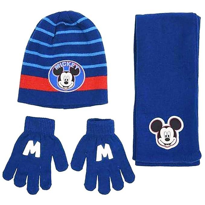 talla 40 bde58 ce8d5 Mickey Mouse - Set de bufanda, gorro y guantes - para niño ...