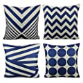 All Smiles Geometric 4-Pack Throw Pillow Case Cushion Cover Set 18x18,Black White,Stripe,Circle,Zig,Chevrons