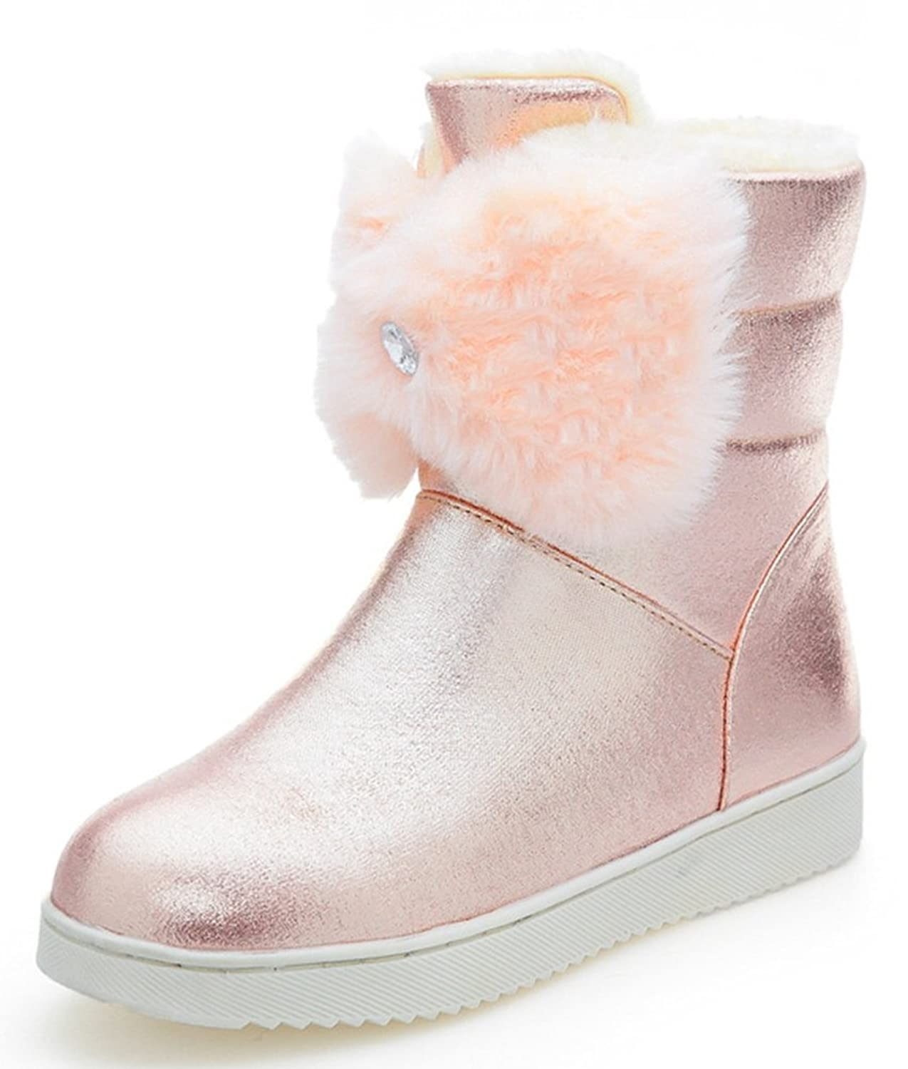 IDIFU Women's Sweet Bow Fully Faux Fur Lined Flat Short Winter Boots Ankle High Snow Booties