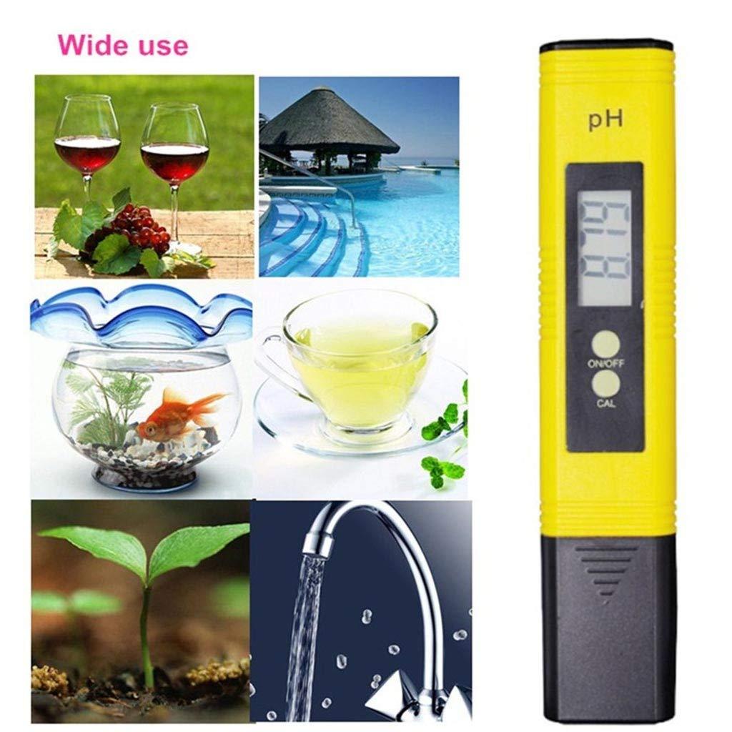 PH Meter 0.01 PH High Accuracy Water Quality Tester with 0-14 PH Measurement Range Digital PH Meter Yellow