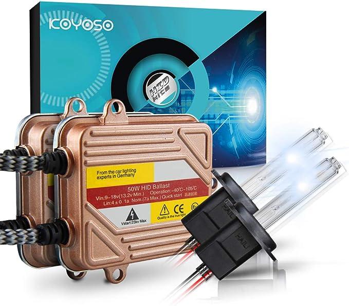 KOYOSO H7 Slim Xenon HID Kit de Conversion 50W Démarrage Rapide Ballasts Fast Lumineux Ampoule de Rechange 6000K