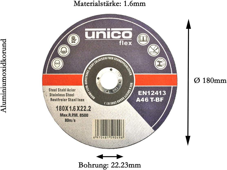 50 St/ück Trennscheibe /Ø 180mm f/ür Winkelschleifer Stahl Edelstahl Flexscheibe Inox Metall
