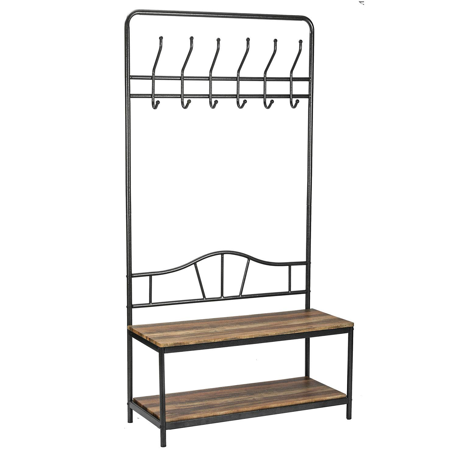 IRONCK Industrial Coat Rack, Hall Tree with 2-Tier Shoe Storage, Rack Hanger with 12 Hooks