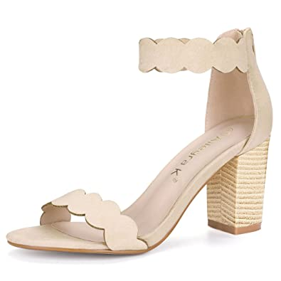 Allegra K Women s Open Toe Scalloped Block Heel Ankle Strap Beige Sandals -  5 ...