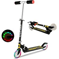 OUTCAMER Foldable Kids Scooter New Aluminum Alloy Adjustable Height Children Kick Scooter with 2 LED Light Up Flashing Wheels Best Gifts for Young Boys Girls,Support 176 LBS