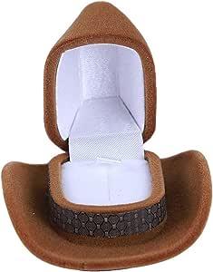 Wyenliz Caja de Anillo con Forma de Sombrero de Vaquero, único y pequeño Anillo de Terciopelo, Estuche Expositor para proposiciones de Compromiso, Boda: Amazon.es: Hogar