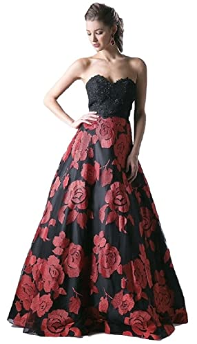 Meier Women's Strapless Rosette Embroidery Evening Ball Gown