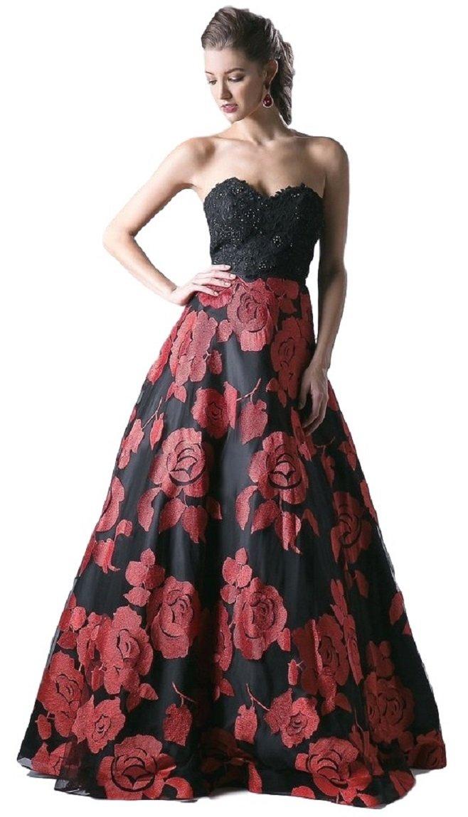 Meier Women's Strapless Rosette Embroidery Evening Ball Gown Size 10