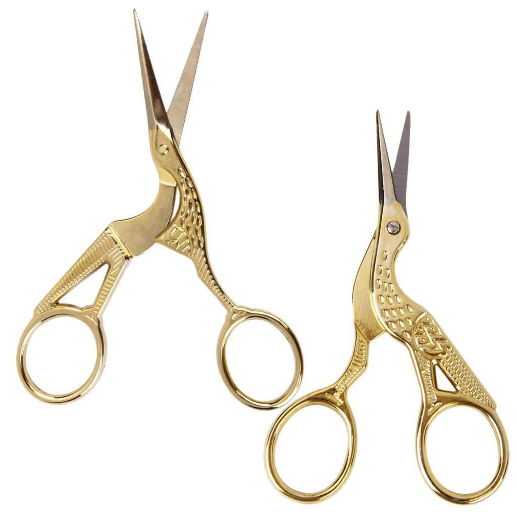 MagiDeal 2 Pieces Mixed Size 11.5cm 9cm Gold Plated Crane Sewing Tailoring Scissors