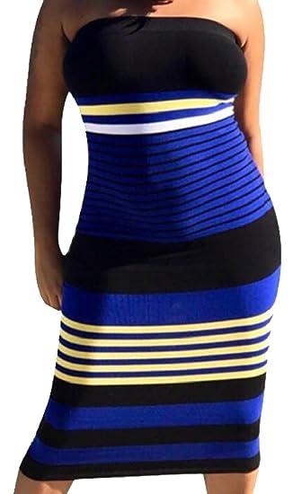 e7fef97d4ea8 M S W Womens Fashion Strapless Stripe Bodycon Tube Top Midi Dress at ...