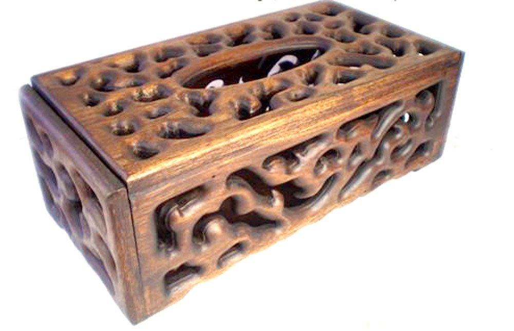 Luxury Eelegant Wooden Tissue Box Handmade Carving