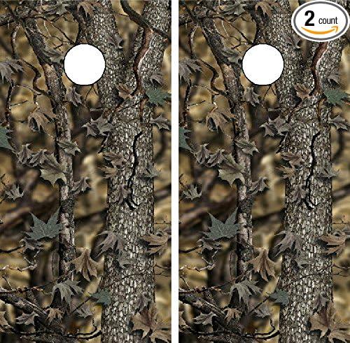 Pink Oak Camouflage wood hunting girl Cornhole game board decal wraps