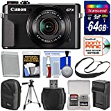 Canon PowerShot G7 X Mark II Wi-Fi Digital Camera 64GB Card + Case + Battery & Charger + Tripod + Sling Strap + Kit