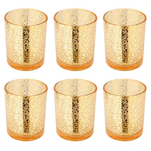 "Runflory S/6 Antiqued Glass Votive Candle Holders, 3.35""-H Gloden Crackled Tealight Candle Holder - Handmade Antique Decorative - Speckled Table Candle Centerpieces for Home Decor, Wedding and Parties"
