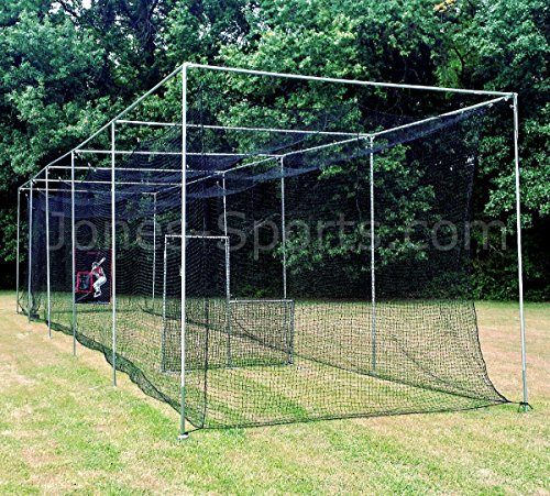 - Jones Sports Batting Cage Net 10' x 12' x 60' #42 HDPE (60PLY) with Door Heavy Duty Baseball