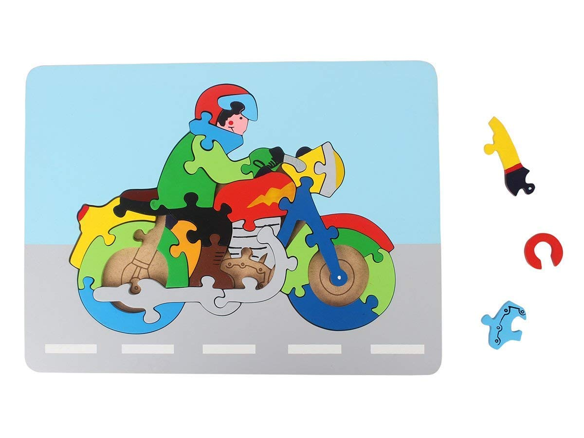 Bike Colorful Wooden Jigsaw Puzzle Educational DIY Woodcraft Brain Teaser Toys and Game for Kids Children 26 Pieces