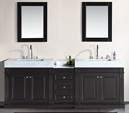 Design Element Odyssey Double Trough Style Sink Vanity Set, 90 Inch