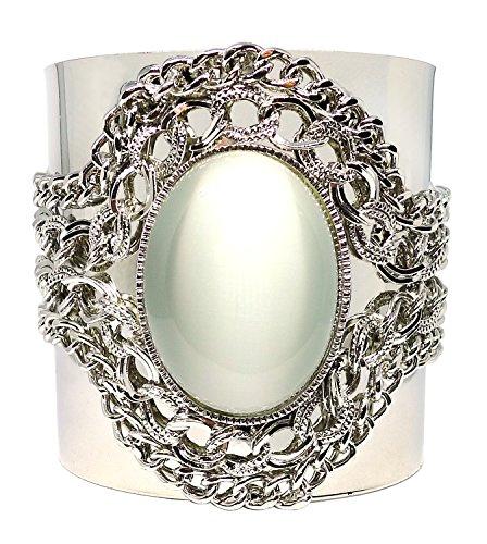 Bijoux De Ja Silver Tone Created Moonstone Filigree Statement Cuff Bangle Bracelet