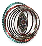 WorldaWhirl Whirligig 3D Wind Spinner Hand Painted Stainless Steel Mandala (12'' Inch, Multi Color)