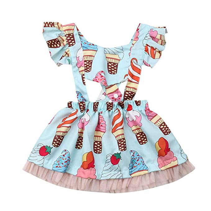 Toddler Infant Kids Baby Girl Ice Cream Summer Dress Princess Party Tutu Dresses