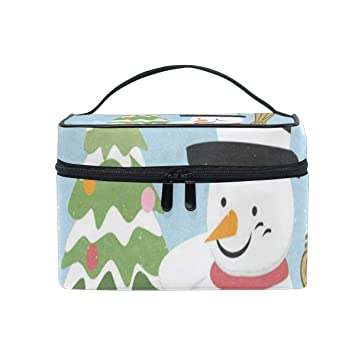 dfe19cb5c69a Makeup Bag Christmas Tree And Snowman Cosmetic ... - Amazon.com